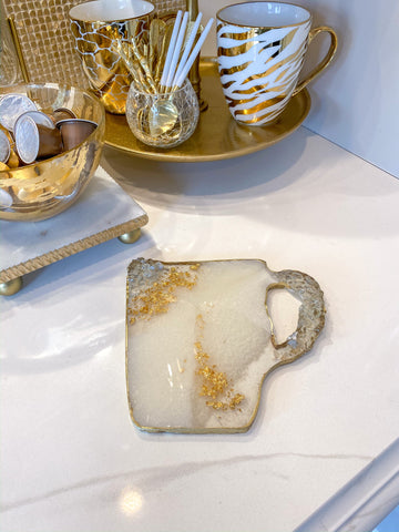 Gold and White Resin Coffee Mug Coaster w/ Clear Stones-Inspire Me! Home Decor