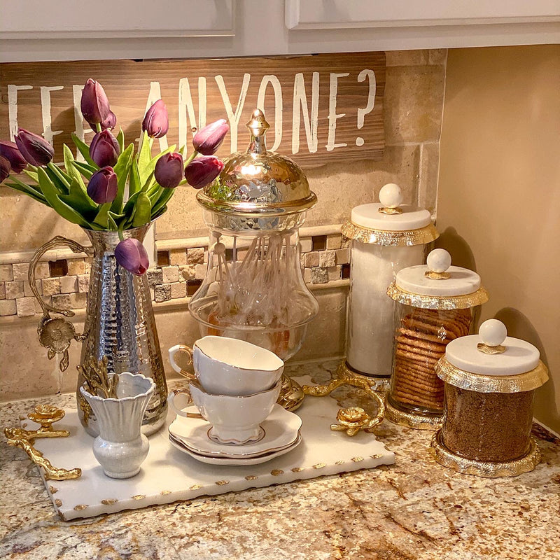 Marble & Gold Hammered Jars