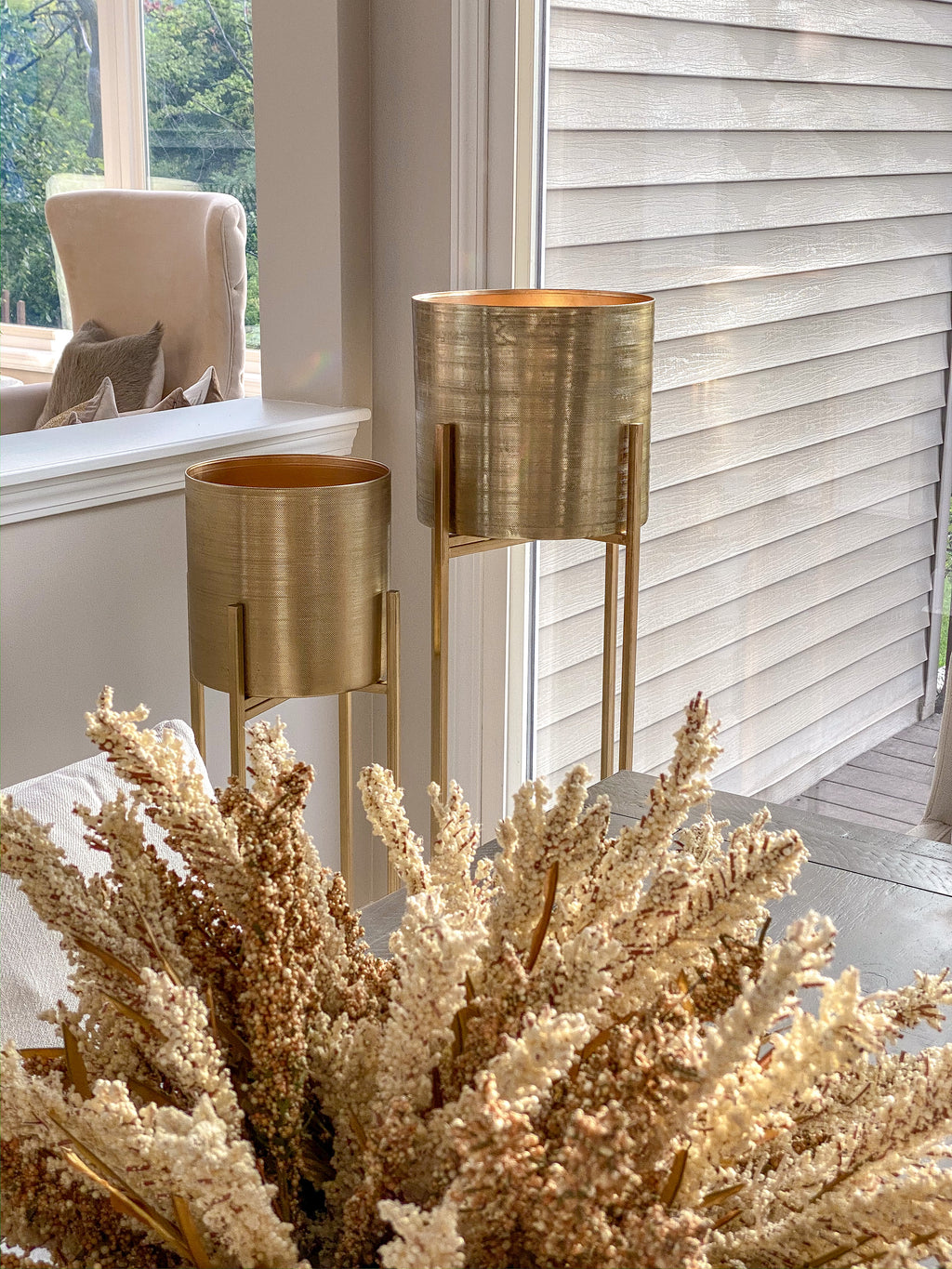 Large Gold Planters on Gold Stand (2 Sizes)-Inspire Me! Home Decor