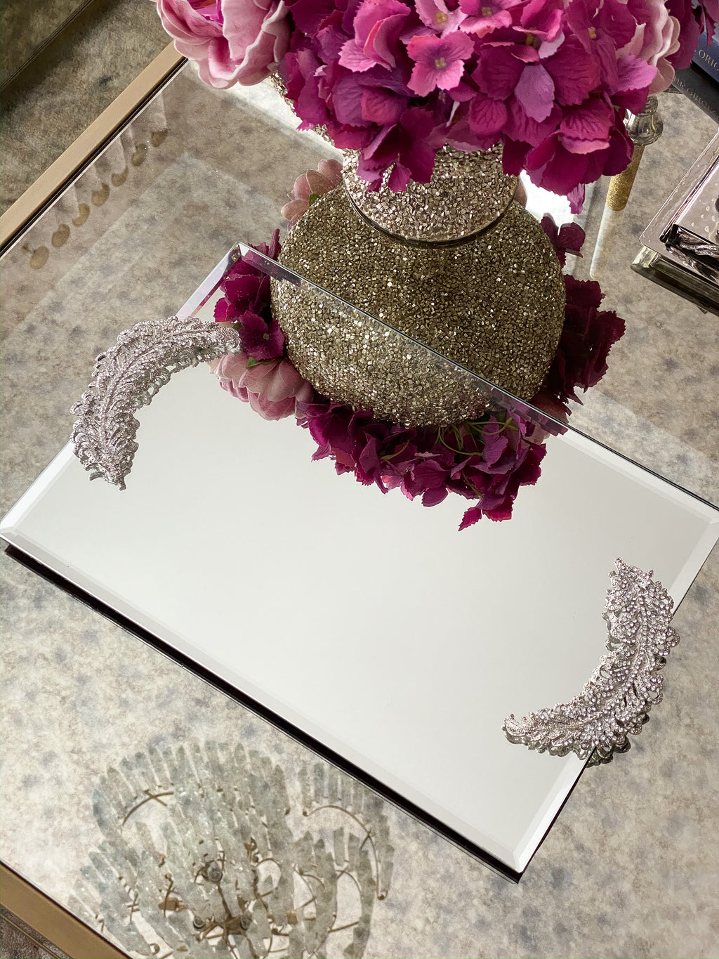 Mirrored Tray with Rhinestone Feather Handles
