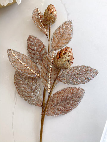 Gold Mesh Magnolia Leaf stem with Metallic Pods-Inspire Me! Home Decor