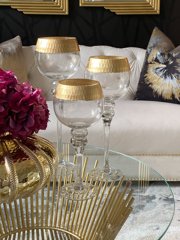Hammered Distressed Gold Goblet Set of 3-Inspire Me! Home Decor