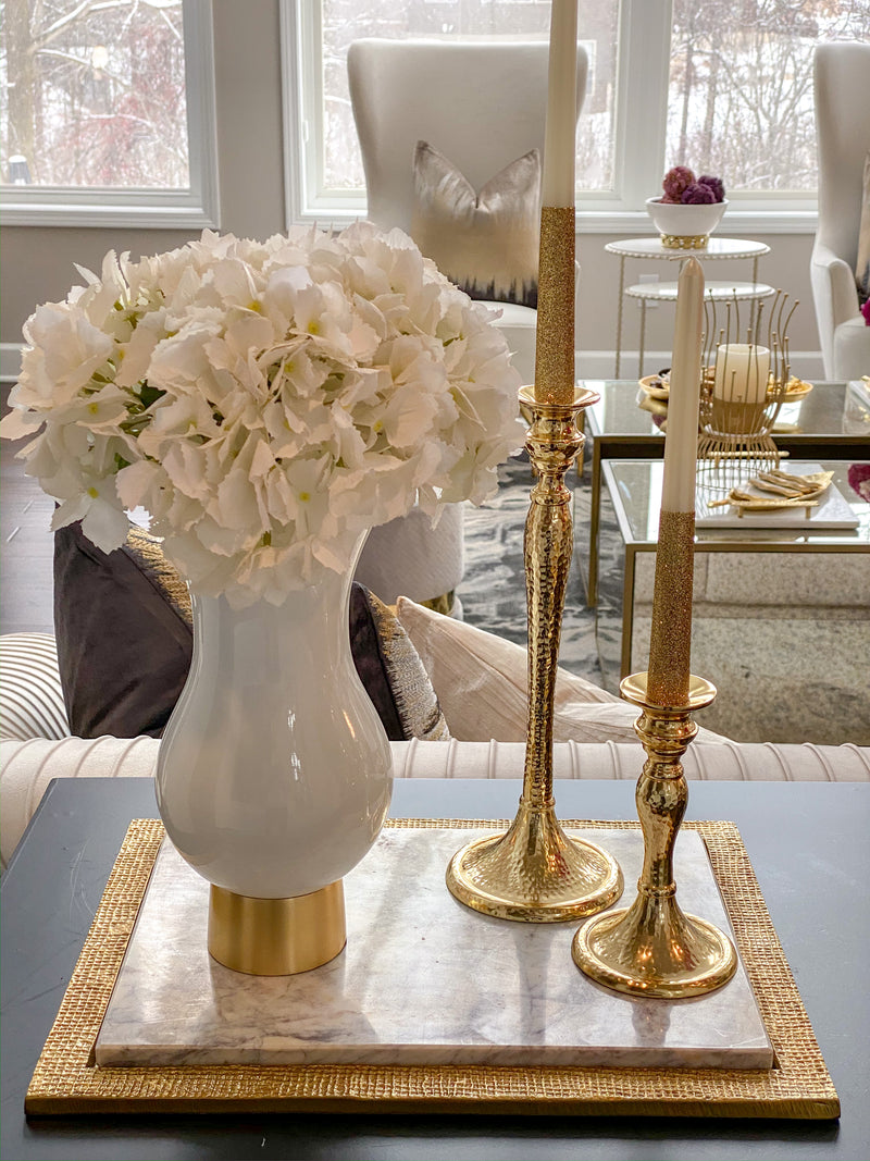 White Glass Vase with Gold Metal Base