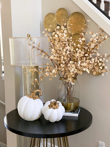 Large White Velvet Decorative Pumpkin with Gold Stem-Inspire Me! Home Decor