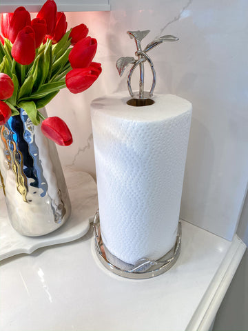 Silver Leaf Detailed Paper Towel Holder-Inspire Me! Home Decor