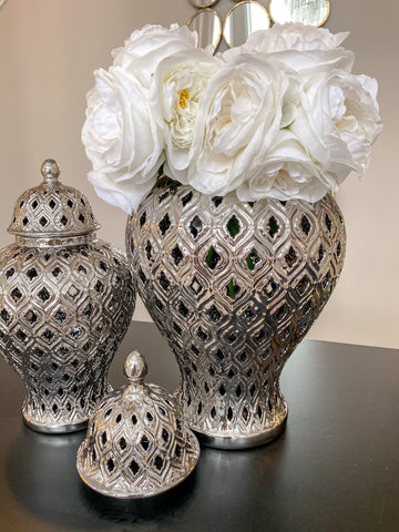 Large Silver Bulbed Ginger Jar-Inspire Me! Home Decor
