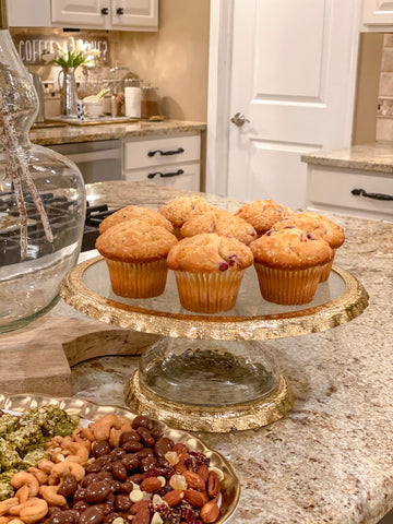 Gold Bordered Glass Cake Stand-Inspire Me! Home Decor