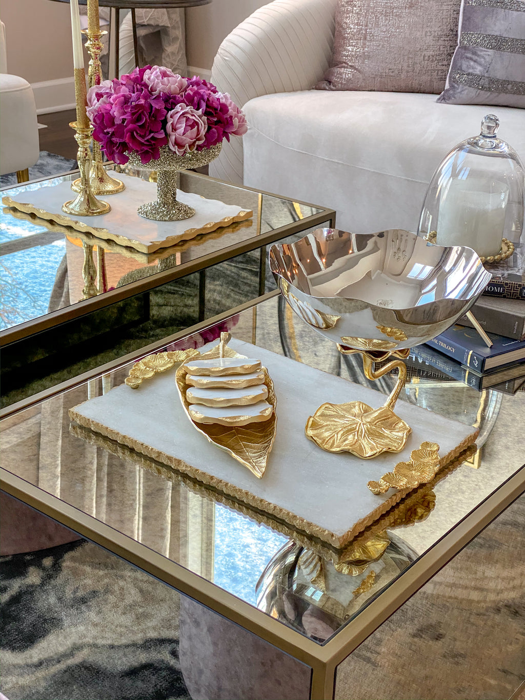 Marble Tray with Gold Floral Handles-Inspire Me! Home Decor