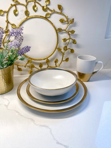 Gold And White 4 Piece Place Setting-Inspire Me! Home Decor