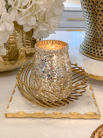 Gold Beaded Rim Bowl with Marble Center-Inspire Me! Home Decor