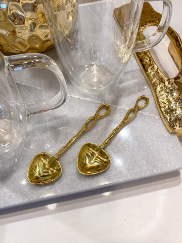Gold Metal Heart Twist Spoon-Inspire Me! Home Decor