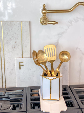 Gold and White Octagon Vase-Inspire Me! Home Decor