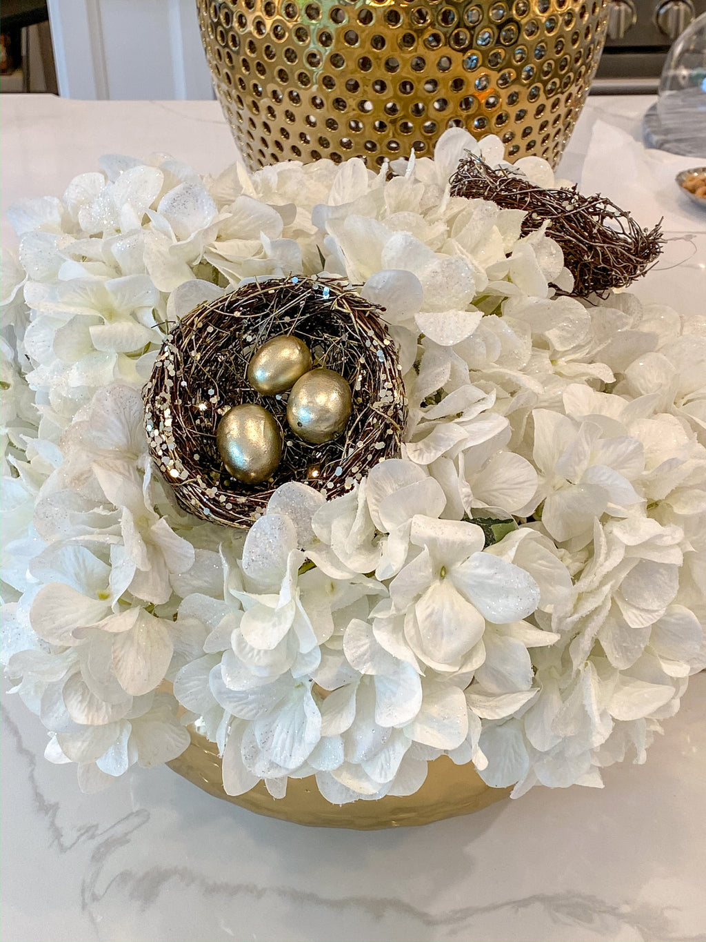 Metallic Gold Nest Stem with Brass Eggs-Inspire Me! Home Decor
