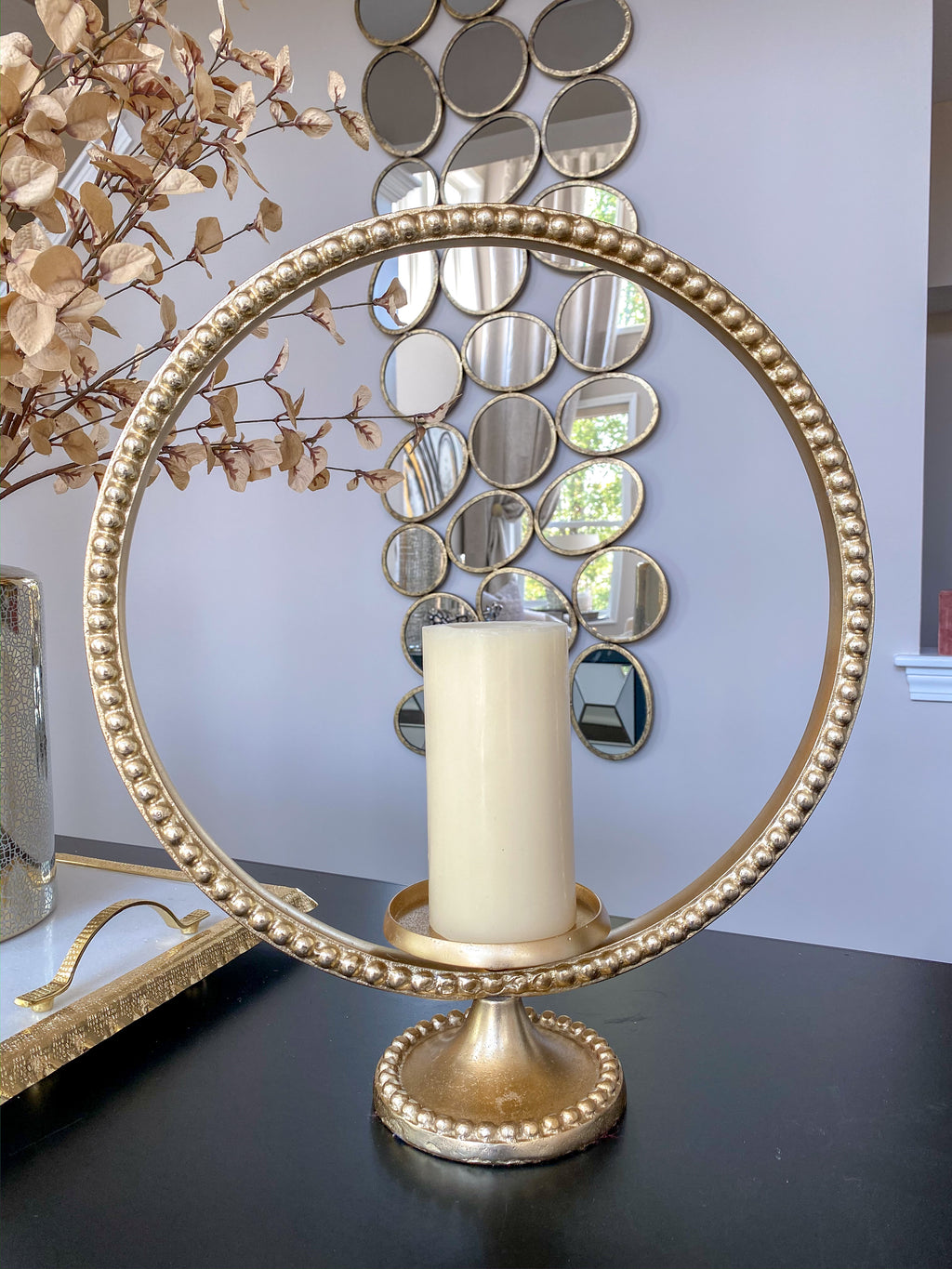 Large Gold Ring Beaded Candleholder-Inspire Me! Home Decor
