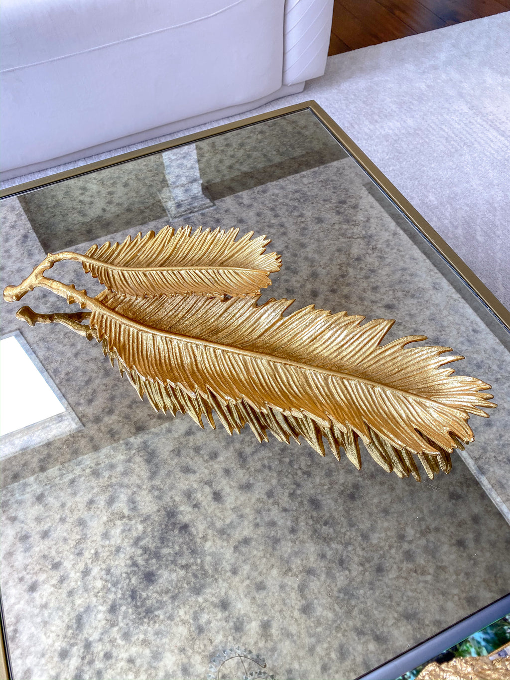 Gold Two Tiered Feather Dish-Inspire Me! Home Decor