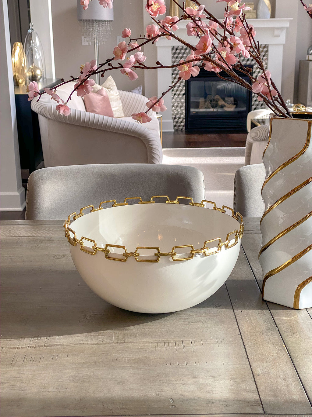 White Bowl with Gold Chain Rim-Inspire Me! Home Decor