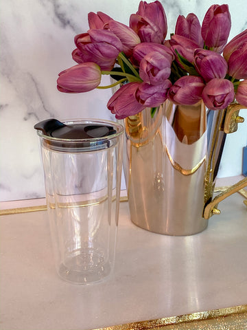 Double Wall Clear Glass Travel Mug-Inspire Me! Home Decor