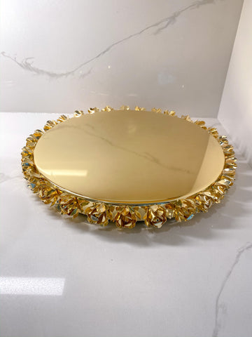 Gold Metal Round Tray with Floral Edge-Inspire Me! Home Decor