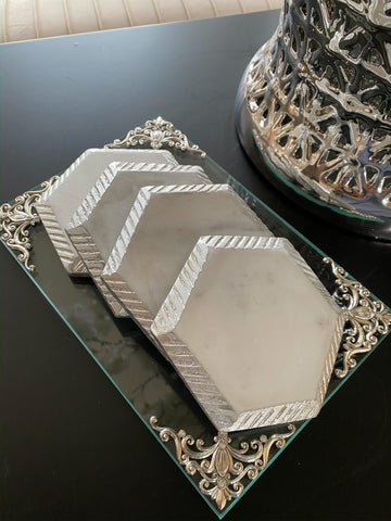 White Marble Hexagon Coasters w/ Silver Edge-Inspire Me! Home Decor