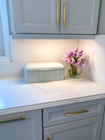 Large White Metal Bread Box-Inspire Me! Home Decor
