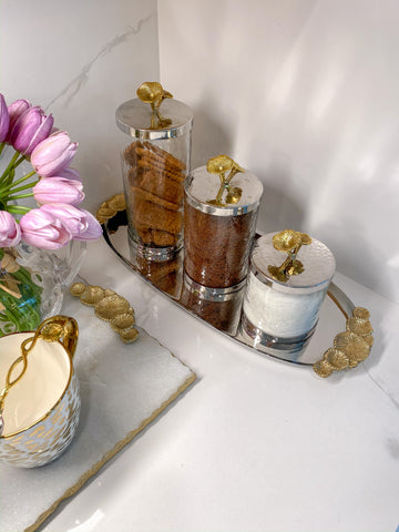 Silver and Gold Flower Top Canister (3 sizes)-Inspire Me! Home Decor