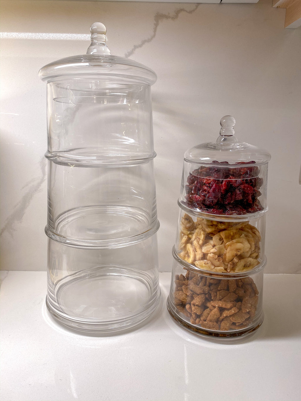 Three Section Clear Apothecary Jars with Lid (2 Sizes)-Inspire Me! Home Decor