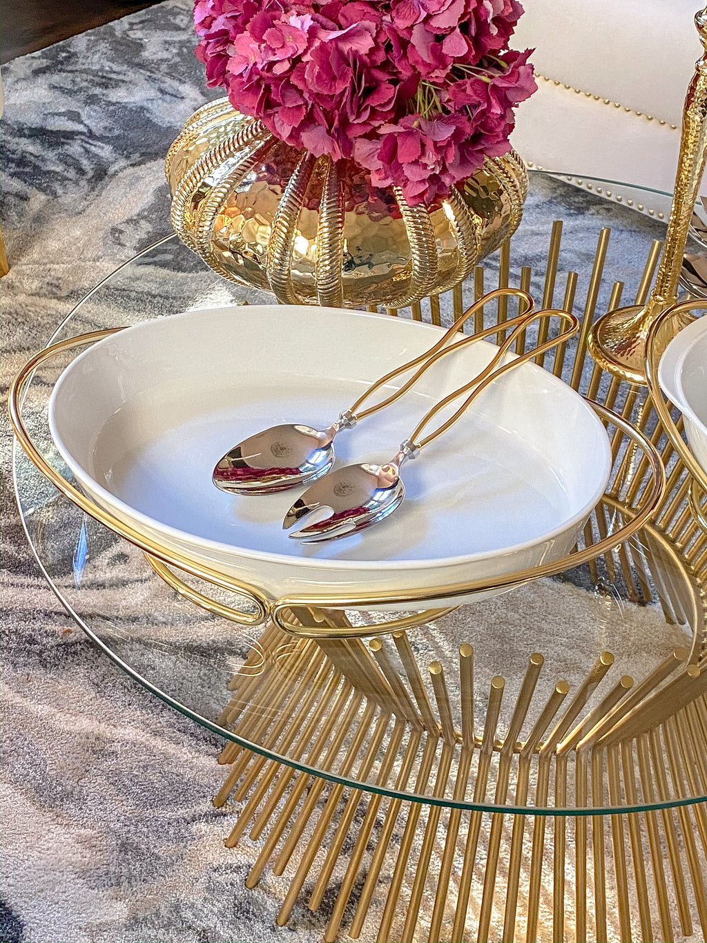 Oval Porcelain Serveware with Metal Base (2 Colors)-Inspire Me! Home Decor