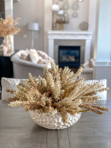 Cream and Brown Heather Bush Stem-Inspire Me! Home Decor