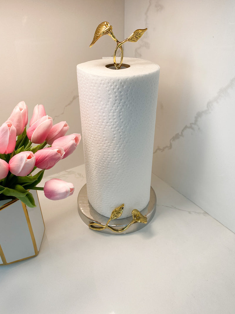 Gold Leaf Detailed Paper Towel Holder ( Available in 2 Sizes)-Inspire Me! Home Decor