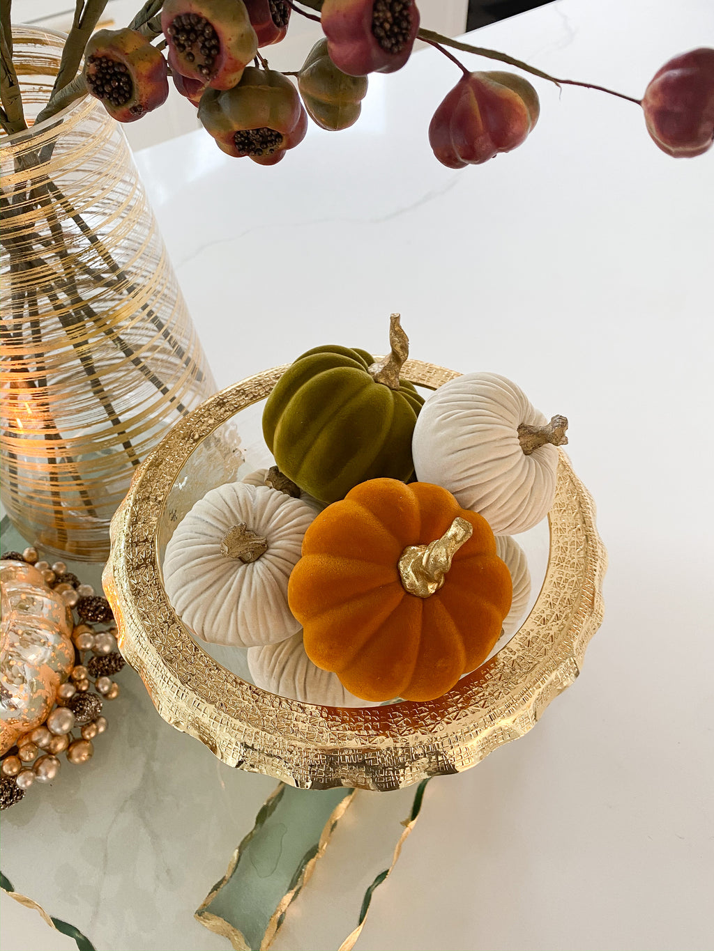 Orange Velvet Mini Pumpkin with Gold Stem-Inspire Me! Home Decor