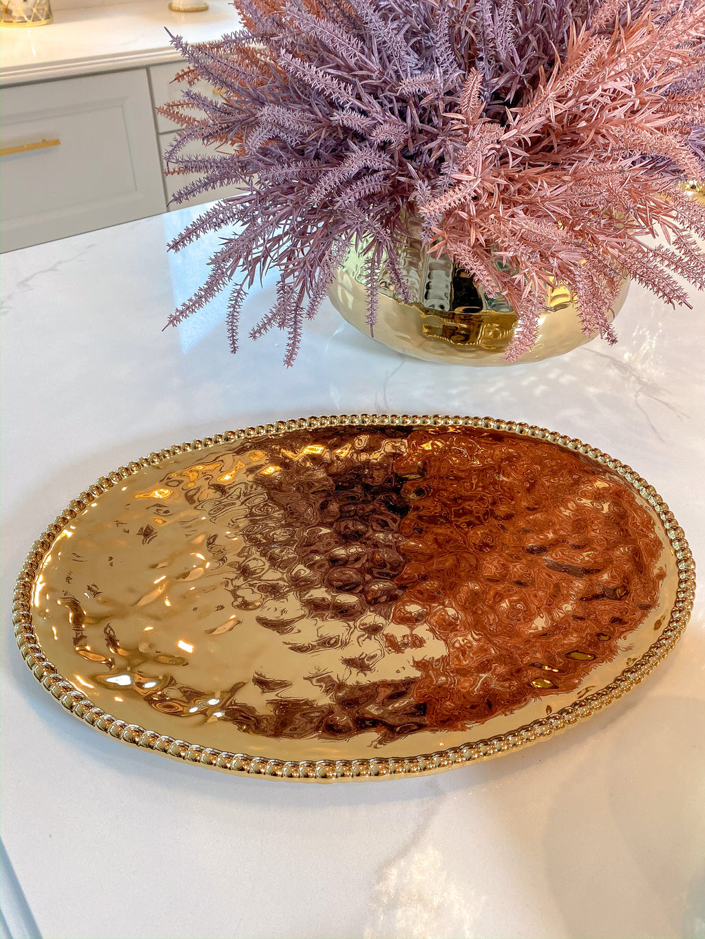 Gold Oval Beaded Platter-Inspire Me! Home Decor