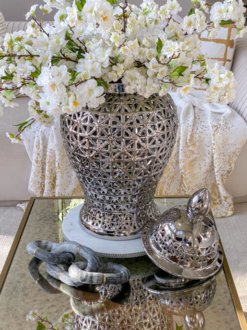 Extra Large Detailed Pattern Silver Ginger Jar-Inspire Me! Home Decor
