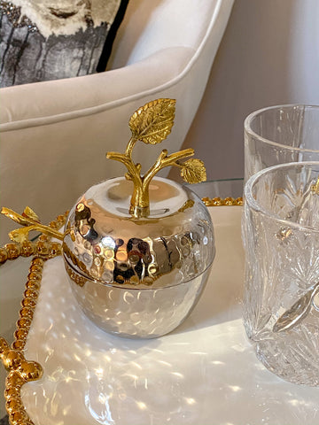 Silver and Gold Apple Dish-Inspire Me! Home Decor