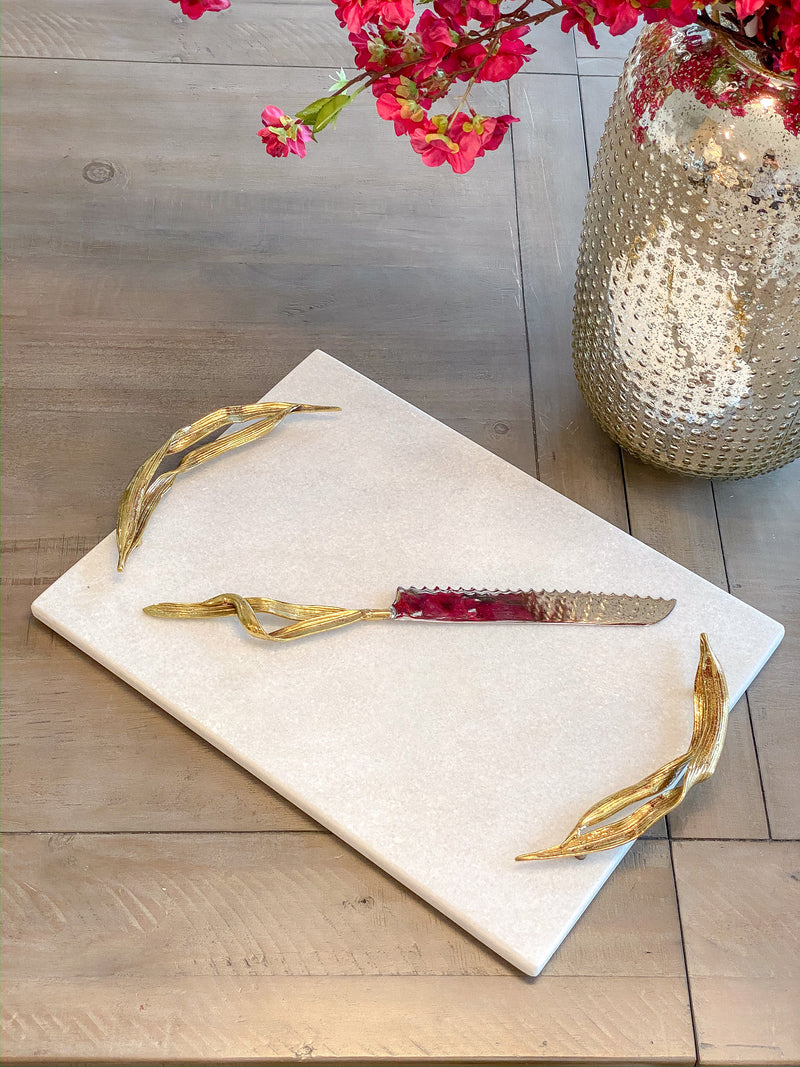 Willow Leaf Handle White Marble Tray