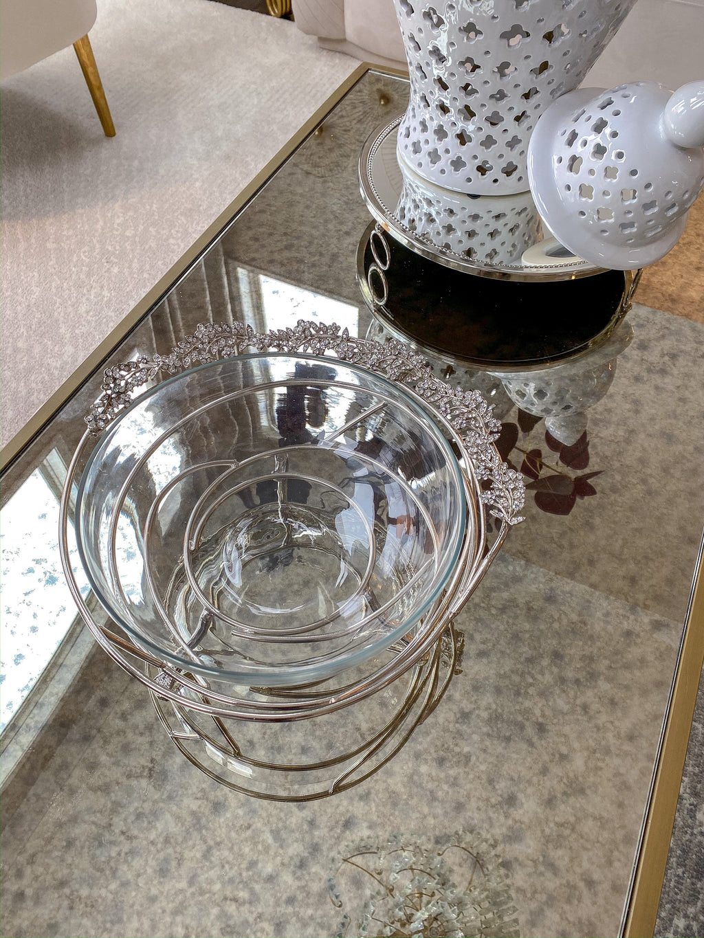 Silver Jeweled Edge Bowl with Glass Insert-Inspire Me! Home Decor