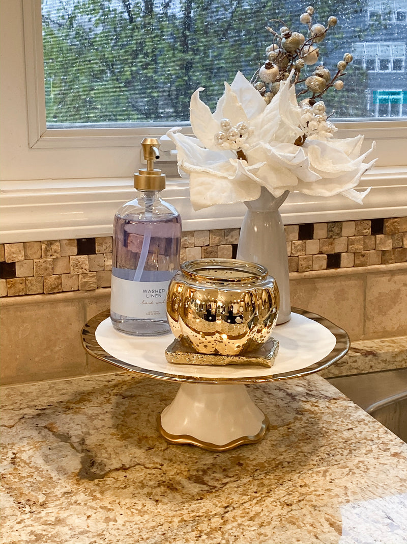 Gold Bordered Ceramic Cake Stand