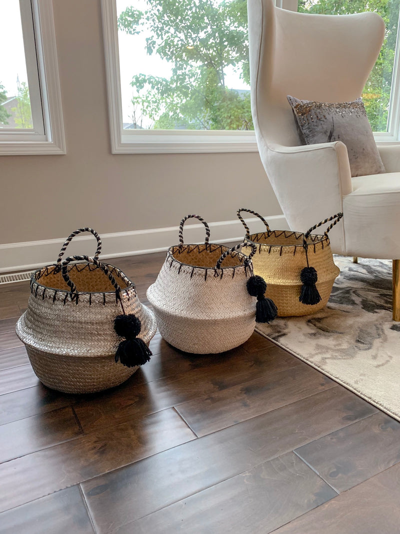 (3 Colors) Woven Collapsible Pom Pom Basket