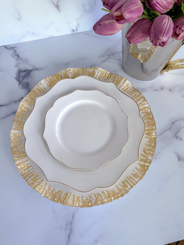 White Charger Plate with Ruffled Gold Edges-Inspire Me! Home Decor