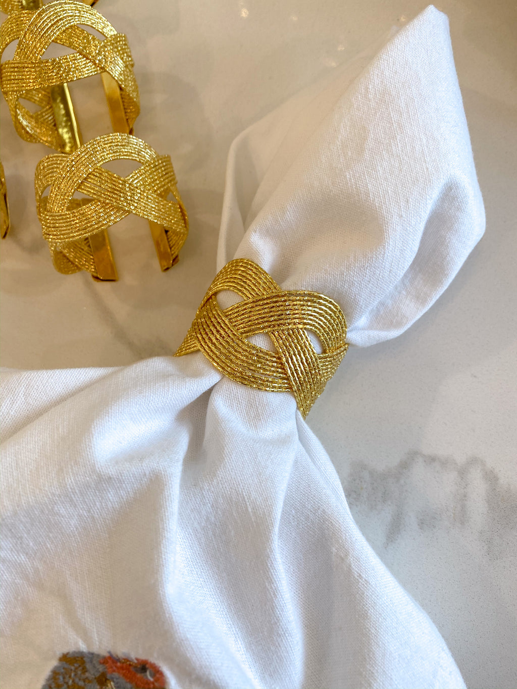 Set of 6 Gold Braid Napkin Rings-Inspire Me! Home Decor