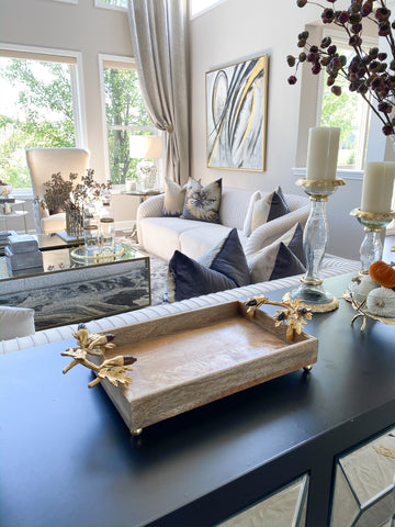 Natural Wood Tray with Gold Acorn Handles-Inspire Me! Home Decor