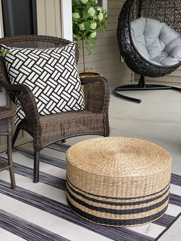 Set of Three Rattan Grass Stools with Black Stripes-Inspire Me! Home Decor