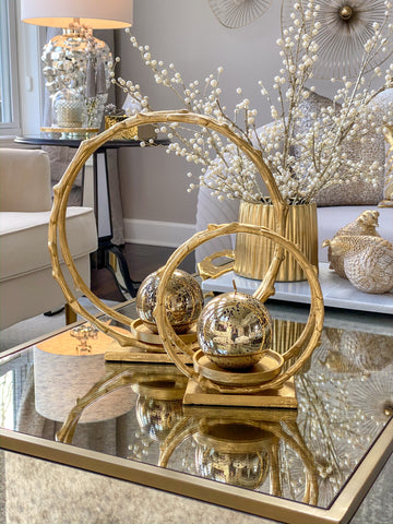 Circular Gold Metal Candle Holder (2 Sizes)-Inspire Me! Home Decor