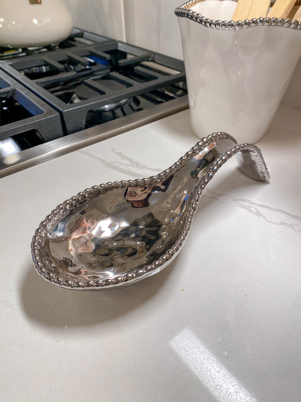 Silver Beaded Spoon Rest-Inspire Me! Home Decor
