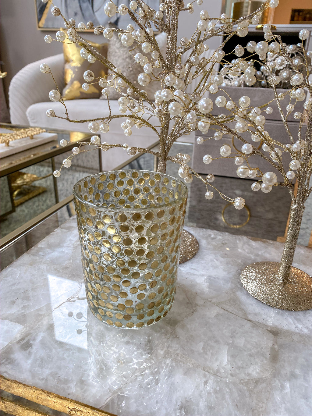Gold Dotted Votive-Inspire Me! Home Decor