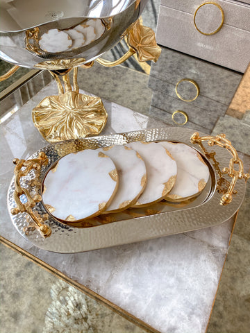 Hammered Edge Oval Tray with Gold Chain Handle (2 Sizes)-Inspire Me! Home Decor