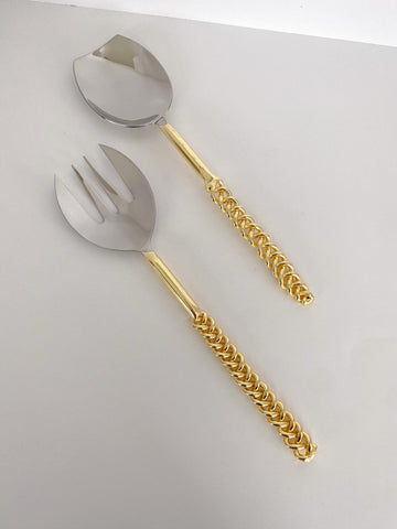 Gold Chain Salad Servers-Inspire Me! Home Decor