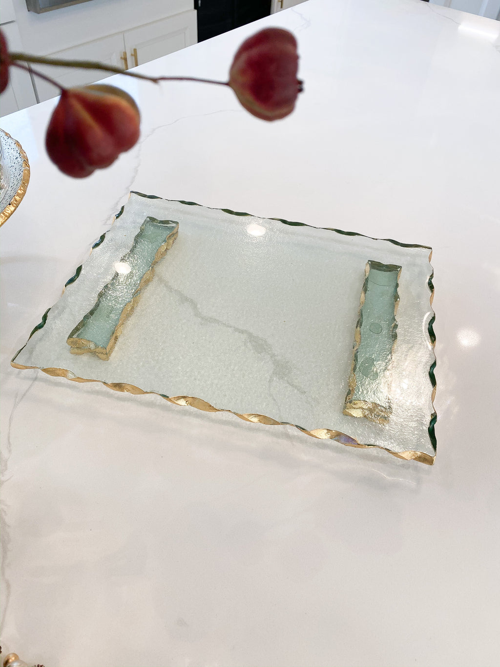 Glass Tray with Hammered Gold Edge-Inspire Me! Home Decor