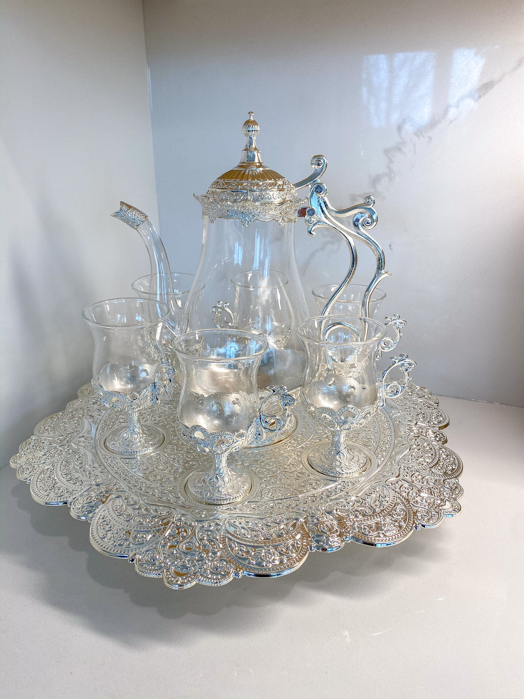 Silver and Glass Turkish Tea Set-Inspire Me! Home Decor