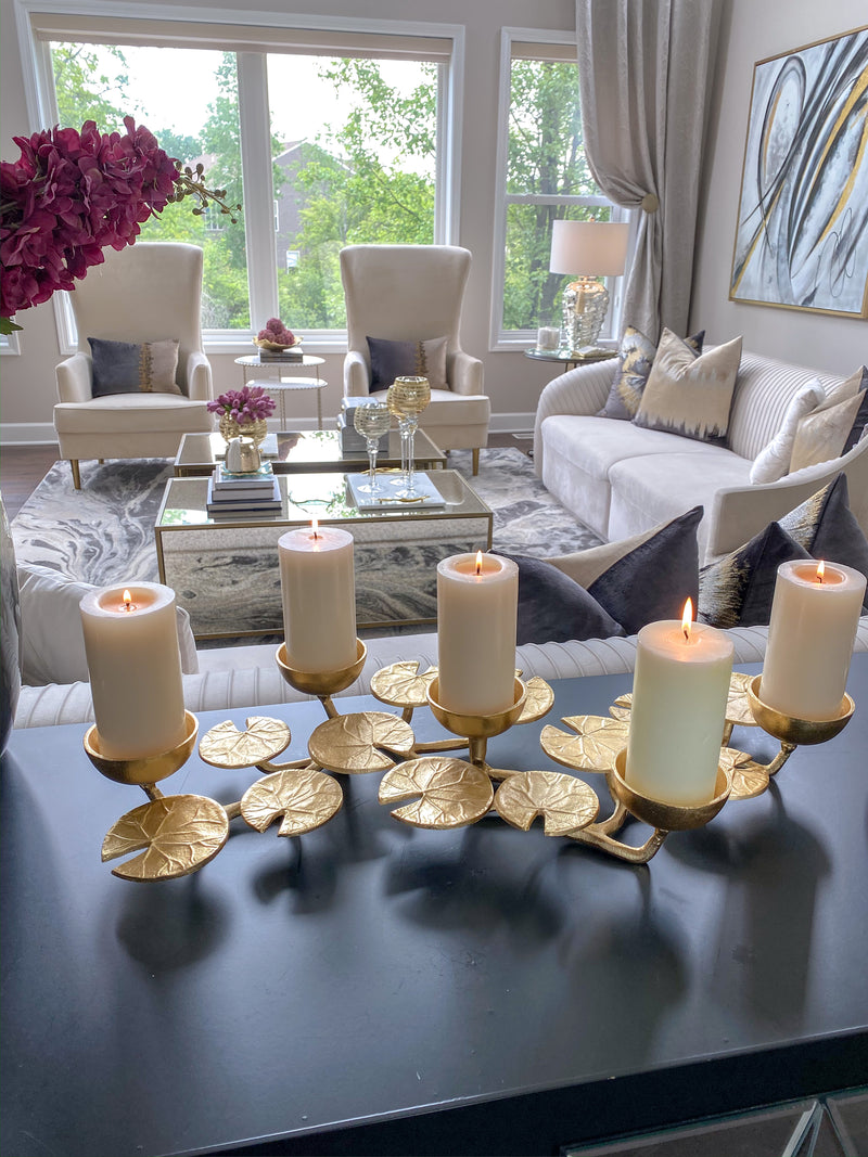 Gold Lily Candle Holder Centerpiece