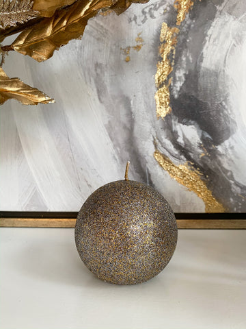 Gold Orb Candle with Gold Shimmer Finish-Inspire Me! Home Decor